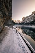 Winter View Of Lake Gosau With Fresh Snow On Majestic Mountains, Forest And Reflection On The Lake poster