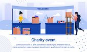 Charity Event, Donations Collecting For Social Needs Trendy Flat Vector Banner, Poster Template. Mul poster