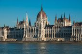 The Hungarian Parliament Building On The Bank Of The Danube In Budapest poster