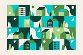 City, Small Town Geometric Abstract Landscape With Buildings, Hills And Trees. Seamless Geometric Pa poster