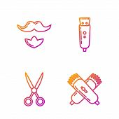 Set Line Crossed Electrical Hair Clipper Or Shaver, Scissors Hairdresser, Mustache And Beard And Ele poster