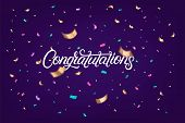Congratulations Hand Written Lettering Text With Colorful Sparkles Confetti On Violet Background. Us poster