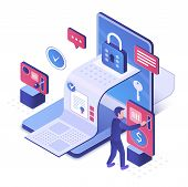 Electronic Contract Isometric Vector Illustration. E-document Security. Safe Document Transfer And R poster
