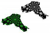 Sahel Region (regions Of Burkina Faso, Burkina Faso) Map Is Designed Cannabis Leaf Green And Black,  poster