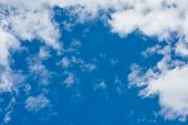 Cloudscape. Blue Sky And White Cloud. Sunny Day. Cumulus Cloud. poster