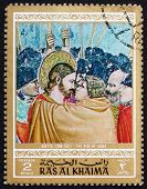 Postage stamp Ras al-Khaimah 1970 The Kiss of Judas, Painting