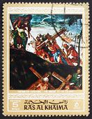 Postage stamp Ras al-Khaimah 1970 The Ascent to Calvary, Paintin
