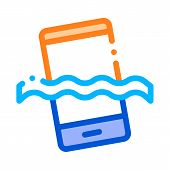 Waterproof Material Phone Vector Thin Line Icon. Waterproof Material Smartphone In Water, Industrial poster