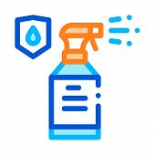 Waterproof Material Spray Vector Thin Line Icon. Waterproof Material Plastic Detergent Bottle, Indus poster