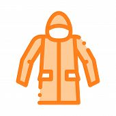 Waterproof Material Jacket Anorak Vector Line Icon. Waterproof Material, Roller Painter Equipment, I poster