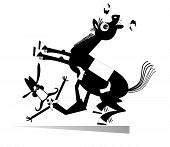Cartoon Rider Falls From The Horse Isolated Illustration. Funny Long Mustache Man Or Cowboy Falling  poster