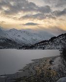 Aerial Drone Photo Of Lofoten - Beautiful Mountains Of The Lofoten Islands Achipelago, Norway Winter poster