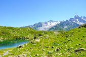 Alpine Lac De Cheserys, Lake Cheserys Near Chamonix-mont-blanc In French Alps. Glacier Lake With Hig poster