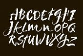 Vector Pastel Or Chalk Style Hand Drawn Alphabet Font. Calligraphy Alphabet On A Black Background poster