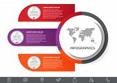 Vector Infographic With Main Circle And 3 Labels. Circles With Icons For Three Diagrams, Graph, Flow poster