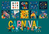 Hello Carnival. Vector Set Of Illustrations For Carnival Concept And Other Use. poster