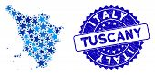 Blue Tuscany Region Map Composition Of Stars, And Textured Rounded Stamp Seal. Abstract Territorial  poster