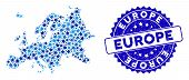 Blue Europe Map Mosaic Of Stars, And Scratched Rounded Stamp Seal. Abstract Territory Scheme In Blue poster