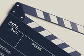 Film Making Clapperboard Closeup Photo. Videography Equipment. poster