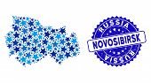 Blue Novosibirsk Region Map Composition Of Stars, And Distress Rounded Stamp Seal. Abstract Territor poster