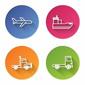 Set Line Plane, Cargo Ship, Delivery Cargo Truck Vehicle And Delivery Cargo Truck Vehicle. Color Cir poster