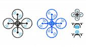Flying Quadcopter Composition Of Filled Circles In Different Sizes And Color Tones, Based On Flying  poster