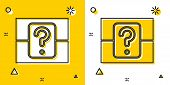 Black Mystery Box Or Random Loot Box For Games Icon Isolated On Yellow And White Background. Questio poster