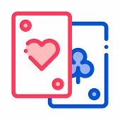 Game Element Cards Vector Thin Line Sign Icon. Detail Of Table Or Adult Gamble Game Pocker, Playing  poster