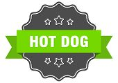 Hot Dog Isolated Seal. Hot Dog Green Label. Hot Dog poster