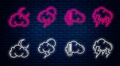 Set Line Storm, Thermometer And Cloud, Cloud With Moon And Stars And Storm. Glowing Neon Icon On Bri poster
