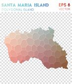 Santa Maria Island Polygonal, Mosaic Style Island Map. Magnetic Low Poly Style, Modern Design For In poster