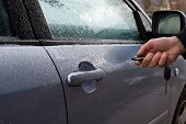 Man Hand Holding The Car Remote, He Push The Remote Control To Open The Car Door In Winter. poster