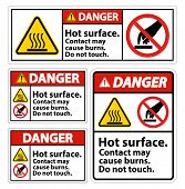 Danger Hot Surface Do Not Touch Symbol Sign Isolate On White Background,vector Illustration poster