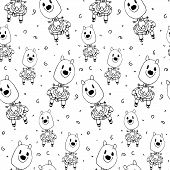 Cute Cartoon Seamless Pattern With Doodle Of Animals In Clothes Drawn By Hand. Black And White Child poster