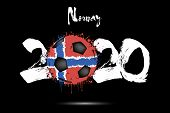 Abstract Numbers 2020 And Soccer Ball Painted In The Colors Of The Norway Flag In Grunge Style. Figu poster