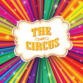 stock photo of psychedelic  - Circus label on psychedelic colored rays background - JPG