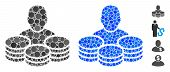 Rich Man Mosaic Of Filled Circles In Various Sizes And Color Tones, Based On Rich Man Icon. Vector F poster