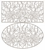Set Of Contour Illustrations Of Stained Glass Windows With Daffodils And Butterflies Flowers, Oval A poster