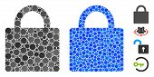 Lock Composition Of Round Dots In Various Sizes And Color Hues, Based On Lock Icon. Vector Round Dot poster