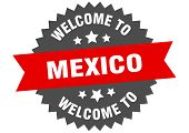 Mexico Sign. Welcome To Mexico Red Sticker poster