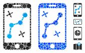 Mobile Route Map Mosaic Of Small Circles In Variable Sizes And Shades, Based On Mobile Route Map Ico poster
