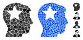 Star Head Composition Of Round Dots In Variable Sizes And Color Tinges, Based On Star Head Icon. Vec poster
