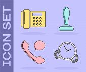 Set Time Management, Telephone, Telephone Handset And Speech Bubble Chat And Stamp Icon. Vector poster
