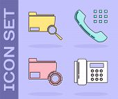 Set Telephone, Search Concept With Folder, Folder Settings With Gears And Telephone Handset Icon. Ve poster