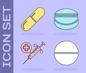 Set Medicine Pill Or Tablet, Medicine Pill Or Tablet, Medical Syringe With Needle And Medicine Pill  poster