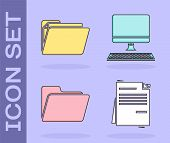 Set File Document, Document Folder, Document Folder And Computer Monitor With Keyboard Icon. Vector poster