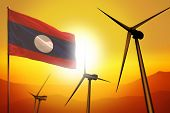 Lao People Democratic Republic Wind Energy, Alternative Energy Environment Concept With Turbines And poster