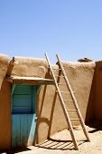 stock photo of pueblo  - New Mexican Adobe Pueblo Building on a native American Indian reservation  - JPG
