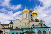 The Dome Of The Orthodox Cathedral Against The Blue Sky. The Holy Trinity - St. Sergius Lavra In Ser poster