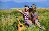 Enjoying Each Other. Summer Hike. Breathtaking Feelings. Hiking Romance. Couple Happy Cuddling Natur poster
